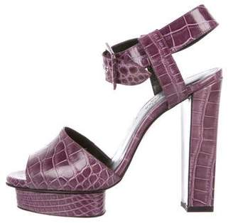 Hermes Alligator Platform Sandals