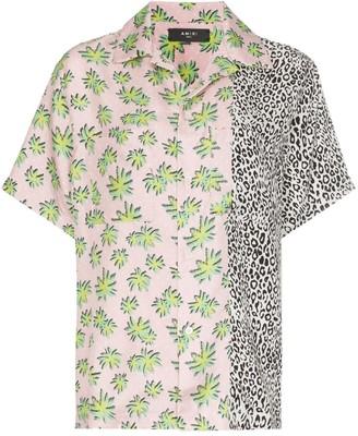 Amiri floral leopard print silk shirt