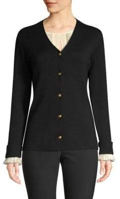 Escada Wool& Silk Pleat Cuff Cardigan