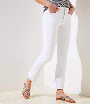 LOFT Curvy Cuffed Straight Leg Jeans in White