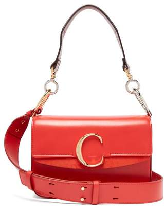 Chloé The C Leather And Suede Shoulder Bag - Womens - Red