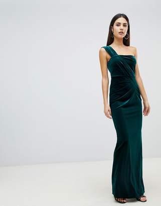 363b844eb2f Asos Design DESIGN one shoulder velvet maxi dress with ruched detail