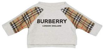 Burberry Mini Esther Check-Trim Sweatshirt, Size 6M-2