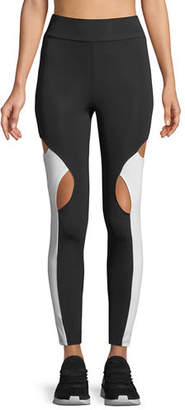 CUSHNIE High-Waist Cutout-Knee Active Leggings