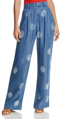 Splendid x Margherita Daisy Print Wide-Leg Chambray Pants