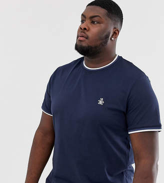 Original Penguin big & tall ringer crew neck t-shirt with sticker pete logo in navy