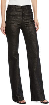 Hudson Holly High-Rise Metallic Wide-Leg Jeans
