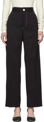 MM6 MAISON MARGIELA Black Contrast Stitch Wide-Leg Trousers