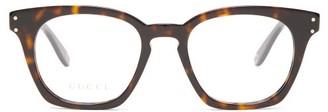 Gucci Square Tortoiseshell Effect Acetate Glasses - Womens - Tortoiseshell