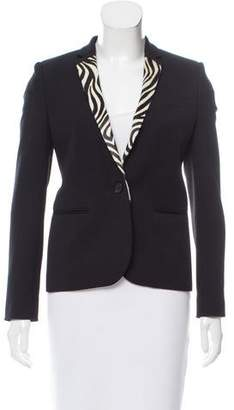 The Kooples Ponyhair-Trimmed Wool Blazer