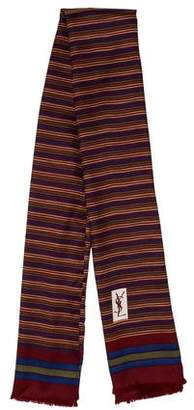 Saint Laurent Striped Silk Scarf
