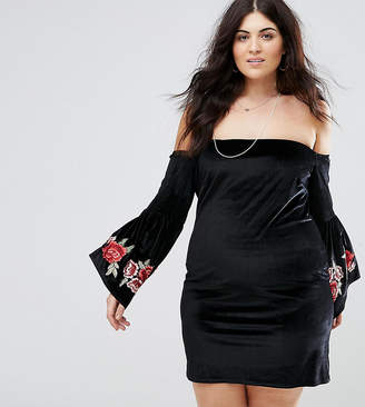 Club L Plus Bardot Embroidery Sleeve Detail Dress