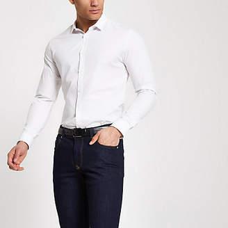 River Island White slim fit long sleeve smart shirt