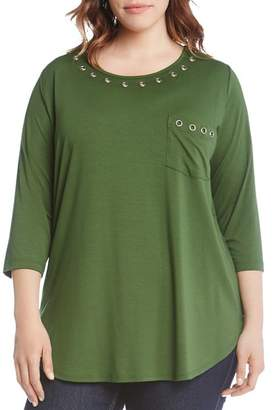 Karen Kane Plus Three-Quarter Sleeve Grommet Top