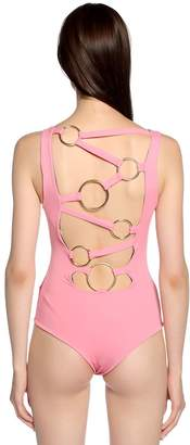 Fausto Puglisi Color Block Lycra Bodysuit W/ Back Rings