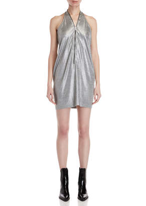 Religion Gloryfied Metallic Zipper Mini Dress
