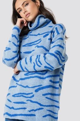 NA-KD Na Kd Animal Printed Tiger Sweater Blue