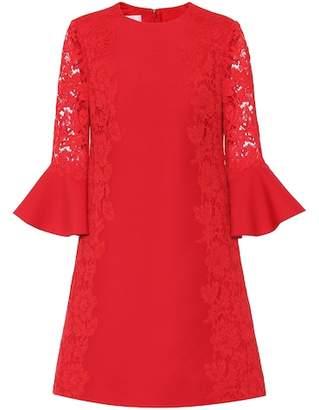 Valentino Lace-panelled crêpe dress
