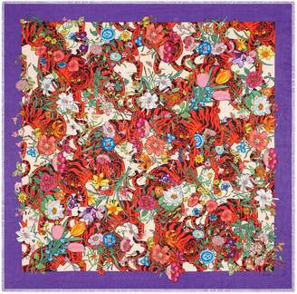 Gucci Flora Tiger print cotton shawl