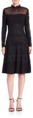 Elie Tahari Cora Lace Applique A-Line Dress $548 thestylecure.com
