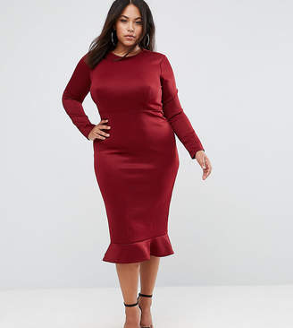 Club L Plus Office Long Sleeve Detailed Dress w. Peplum Frill Hem Bodycon Midi Dress