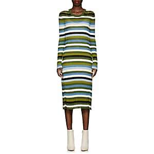 Altuzarra Women's Striped Rib-Knit Fit-&-Flare Midi-Dress - Pine