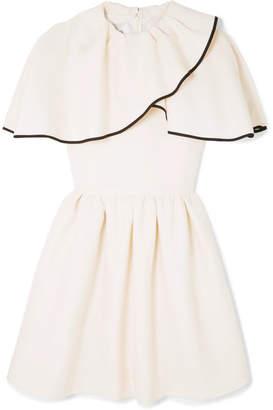 Valentino Ruffled Wool And Silk-blend Grain De Poudre Mini Dress - Ivory