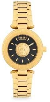 Versace Lion Head Goldtone Stainless Steel Analog Bracelet Watch