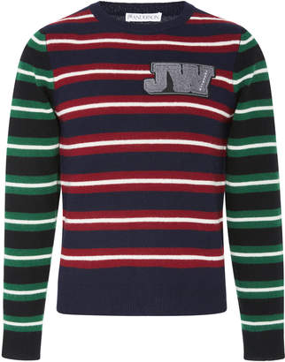 J.W.Anderson Logo-Embroidered Striped Wool Sweater