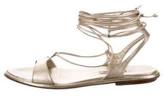 Miu Miu Metallic Lace-Up Sandals