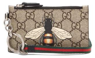 Gucci Gg Supreme Printed Canvas And Leather Cardholder - Mens - Brown Multi