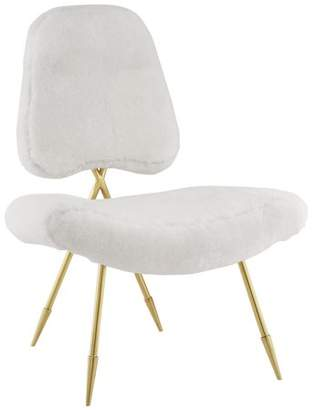 Modway Ponder Upholstered Sheepskin Fur Lounge Chair, Multiple Colors