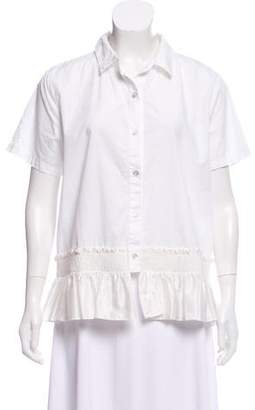 Clu Ruffle-Trimmed Button-Up Top