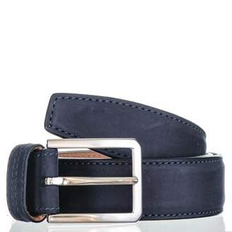 Black Navy Italian Nubuck Leather Belt