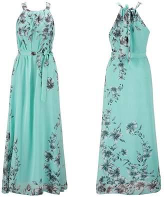 Bohemia Ensnovo Womens Floral Chiffon Long Dress Summer Beach Maxi Dress