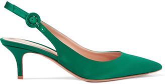 Gianvito Rossi - Satin Slingback Pumps - Emerald $665 thestylecure.com