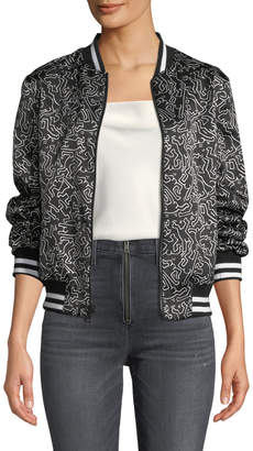 Alice + Olivia Keith Haring x Lonnie Reversible Bomber Jacket