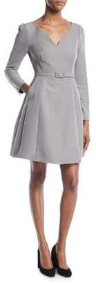 Co V-Neck Long-Sleeve Belted Houndstooth Dress with Pockets