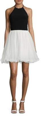 Blondie Nites Open Back Halter Skater Dress