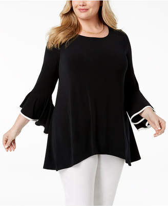 Alfani Plus Size Printed Sheer-Back Top, Created for Macy's