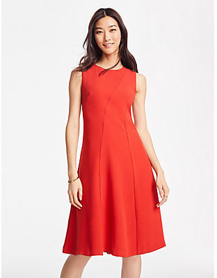 Ann Taylor Tall Seamed Sleeveless Flare Dress