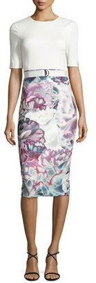 Ted Baker London Darcele Luminated Bloom Floral-Print Belted Sheath Dress, White/Purple $315 thestylecure.com