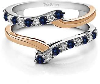 TwoBirch Diamonds (G,I2) and Sapphire Mounted in Sterling Silver Bypass Ring Guard Enhancer (0.5ctw)