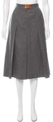 Hermes Pleated Wool Skirt