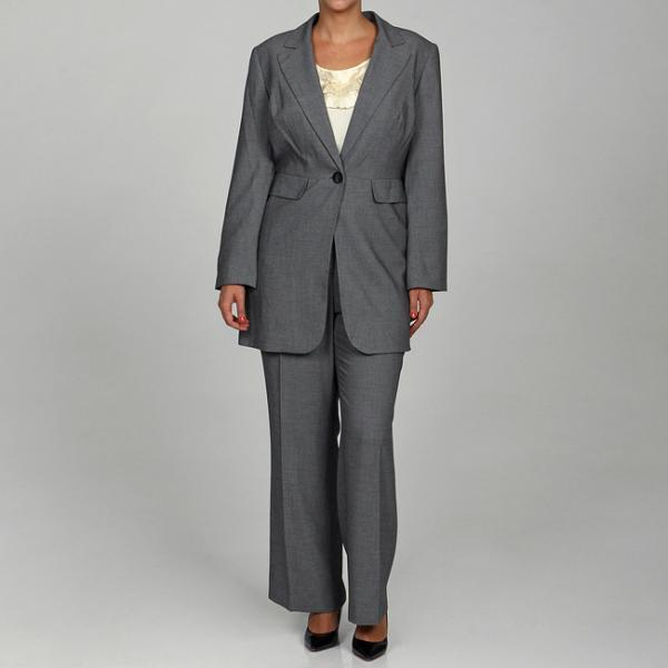 Calvin Klein Women's Black/ Cream 2-piece Pant Suit