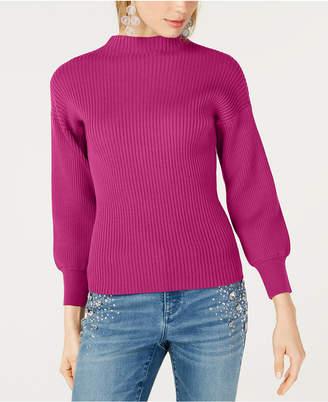 INC International Concepts I.n.c. Volume-Sleeve Ribbed Sweater