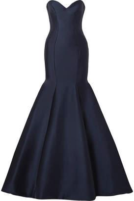Monique Lhuillier Strapless Satin Gown - Navy