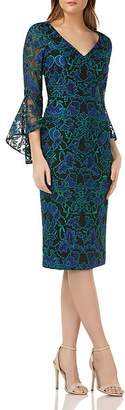 Carmen Marc Valvo Bell-Sleeve Lace Dress