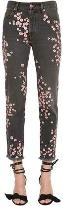 Floral Embroidered Cotton Denim Jeans
