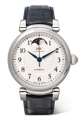 IWC SCHAFFHAUSEN - Da Vinci Automatic Moon Phase 36mm Stainless Steel And Alligator Watch - Silver